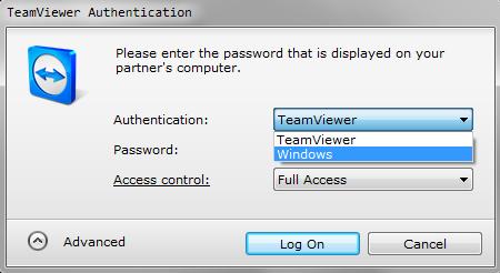 Аутентификация через Windows в TeamViewer