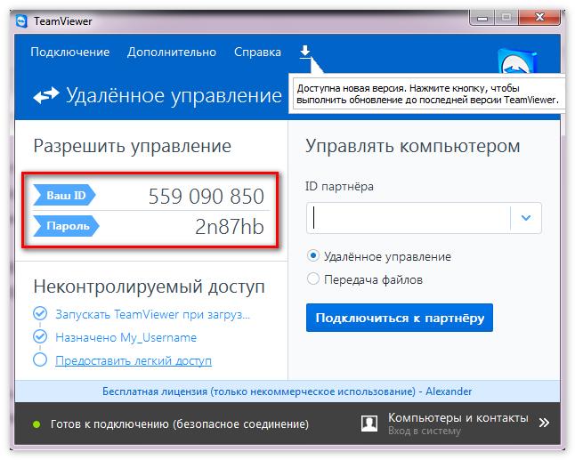 ID и пароль TeamViewer11