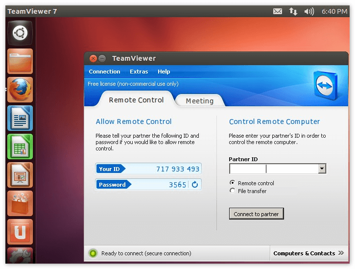 Интерфейс Team Viewer Ubuntu