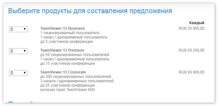 Лицензии для TeamViewer