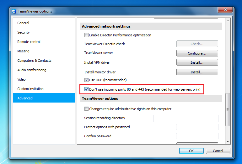 Не использовать порт 80 в TeamViewer