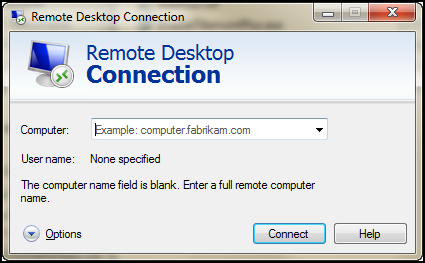 Windows Remote Desktop Connection