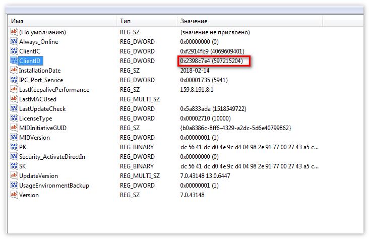ClientID TeamViewer реестр