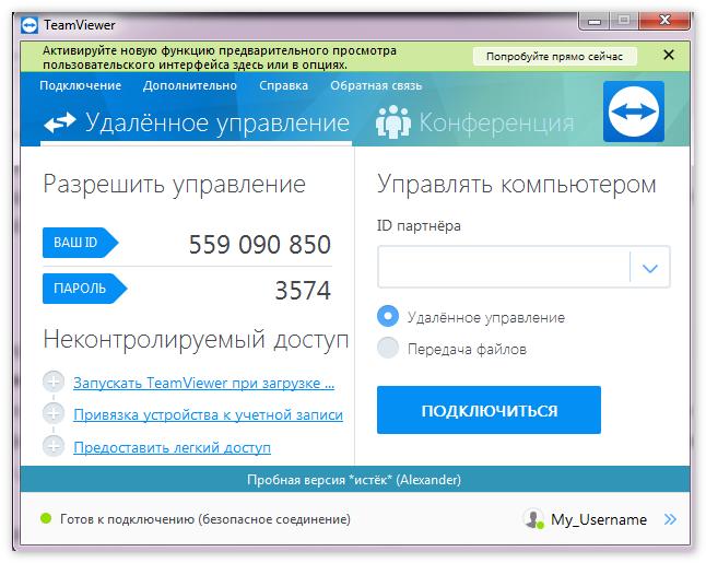 Интерфейс TeamViewer