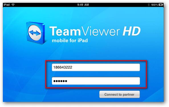 Подключение к гаджету TeamViewer