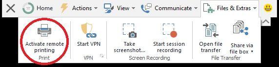 Remote printing TeamViewer