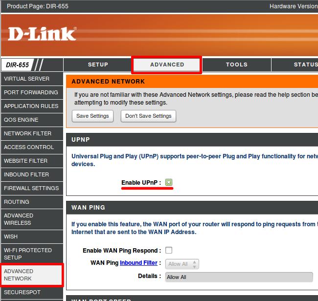 Включить на роутере UPnP