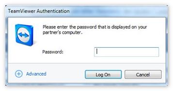 Ввести пароль партнера Teamviewer