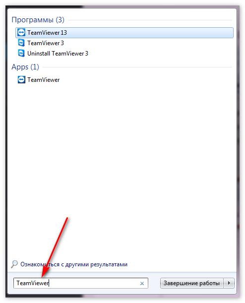Ввод запроса TeamViewer