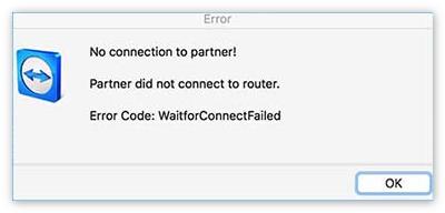 Waitforconnectfailed TeamViewer